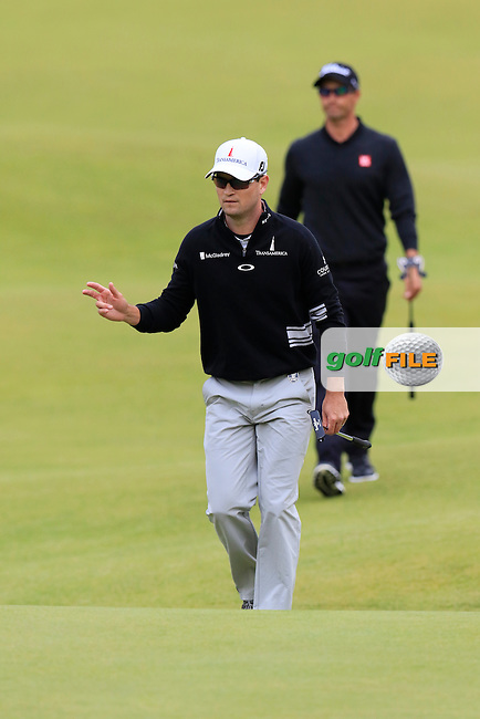 Zach JOHNSON (USA) walks onto the 18th green during Sunday's Round 3 of the 144th Open Championship, St Andrews Old Course, St Andrews, Fife, Scotland. 19/07/2015.<br /> Picture Eoin Clarke, www.golffile.ie