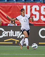 USWNT forward Alex Morgan (13) comes in for an attack near the Korean goal.  In an international friendly , the US Women's National Team (USWNT) (white/blue) beat Korea Republic (South Korea)  (red/blue) 4-1, at Gillette's Stadium on June 15, 2013.