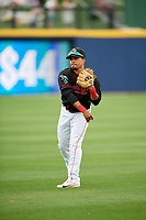 Nashville Sounds shortstop Melvin Mercedes (1) warms up before a game against the New Orleans Baby Cakes on May 1, 2017 at First Tennessee Park in Nashville, Tennessee.  Nashville defeated New Orleans 6-4.  (Mike Janes/Four Seam Images)