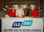 07-02-06 Chef Neven Maguire cookery demonstration in conjunction with Flogas held in the Kilmore Hotel, Cavan..Julie-Ann Conaty, Rory McMahon (Local Flogas Distributor) and Carmel Brady (Bank of Ireland), Cavan pictured with Neven Maguire..Photo:Barry Cronin/Newsfile.