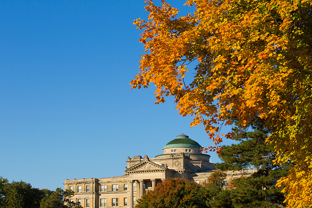 Fall colors frame Beardshear Hall on the campus of Iowa State University in Ames, Iowa. (Christopher Gannon/Gannon Visuals)