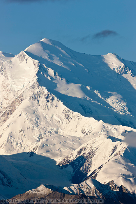Pioneer ridge and the summit of Denali, Denali National Park, Interior, Alaska.