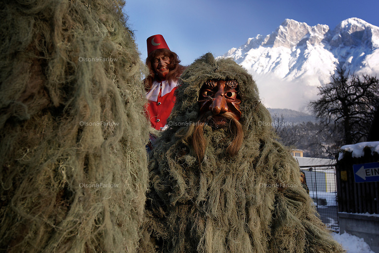The Wild Ones gather for a parade in Austria celebrating an ancient Pagan tradition known as Schleicherlaufen held in the Tyrol of Austria since 1571.