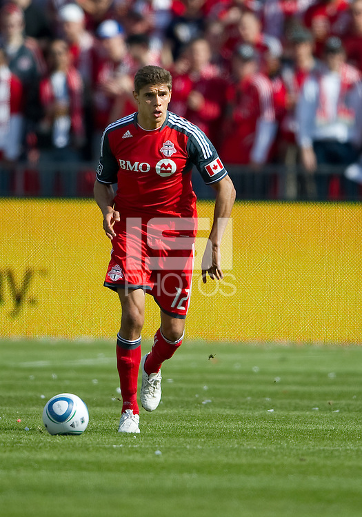 23 April 2011: Toronto FC defender Adrian Cann #12 in action during a game between the Columbus Crew and the Toronto FC at BMO Field in Toronto, Ontario Canada..The game ended in a 1-1 draw.