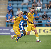 Gillingham's Regan Charles-Cook (centre) battles for possession with  Bolton Wanderers' James Weir (left) and Jordan Boon (right) <br /> <br /> Photographer David Horton/CameraSport<br /> <br /> The EFL Sky Bet League One - Gillingham v Bolton Wanderers - Saturday 31st August 2019 - Priestfield Stadium - Gillingham<br /> <br /> World Copyright © 2019 CameraSport. All rights reserved. 43 Linden Ave. Countesthorpe. Leicester. England. LE8 5PG - Tel: +44 (0) 116 277 4147 - admin@camerasport.com - www.camerasport.com
