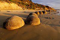 Line of Moeraki Boulders in golden morning light | sandy beach | Coastal Otago New Zealand