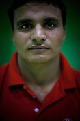 Vazeer Singh, one of the member of the Indian Kabbadi team poses for a portrait at a month long camp in Sport Authority of India Sports Complex in Bisankhedi, outskirts of Bhopal, Madhya Pradesh, India.