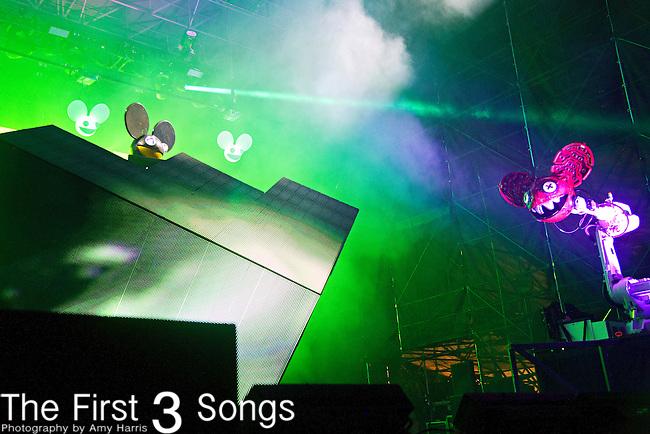 Deadmau5 (born Joel Zimmerman) performs during the 2013 Budweiser Made in America Festival in Philadelphia, Pennsylvania.