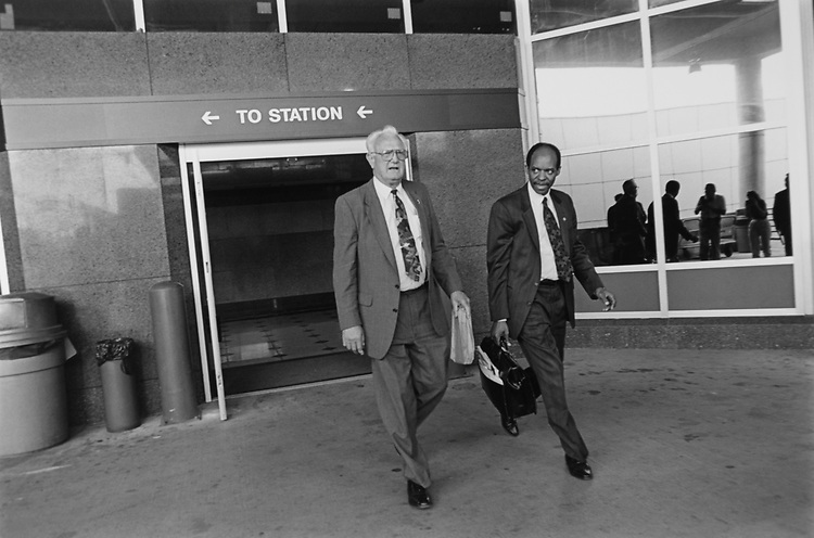 Rep. Mel Hancock, R-Mo., leaving for New York City from Union Station, on May 13, 1993. (Photo by Maureen Keating/CQ Roll Call via Getty Images)