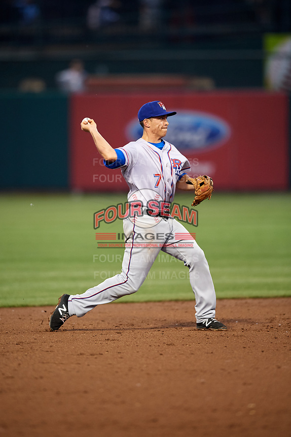 Round Rock Express shortstop Doug Bernier (7) throws to first base during a game against the Memphis Redbirds on April 28, 2017 at AutoZone Park in Memphis, Tennessee.  Memphis defeated Round Rock 9-1.  (Mike Janes/Four Seam Images)