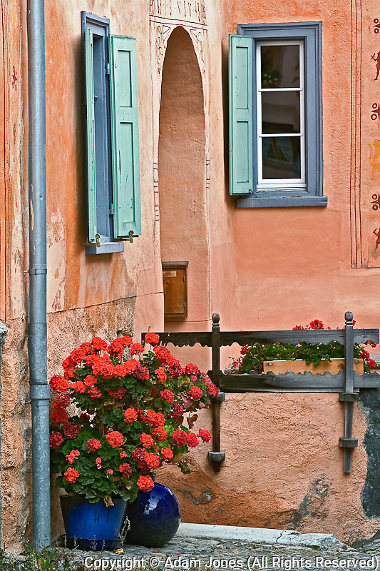 Geraniums and doorway, Appenzeller, Switzerland