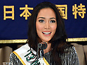 """December 20, 2013, Tokyo, Japan - 2013 Miss International, Bea Rose Santiago of the Philippines, charms the members of the foreign media with her million dollar smile during a news conference at Tokyo's Foreign Correspondents' Club of Japan on Friday, December 20, 2013. Santiago and two runners-up from the Netherlands and New Zealand were in town as """"Goodwill Ambassadors of Beauty.""""  (Photo by Natsuki Sakai/AFLO)"""