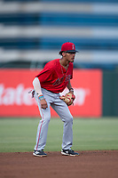 AZL Angels shortstop Jeremiah Jackson (8) during the completion of a suspended Arizona League game against the AZL Diamondbacks at Tempe Diablo Stadium on July 16, 2018 in Tempe, Arizona. The game was a continuation of the July 11, 2018 contest that was suspended by rain in the middle of the eighth inning. The AZL Diamondbacks defeated the AZL Angels 12-8. (Zachary Lucy/Four Seam Images)