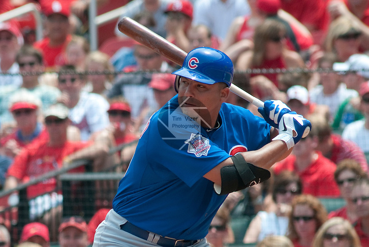 05 June 2011                 Chicago Cubs starting pitcher Carlos Zambrano (38) at bat. The St. Louis Cardinals defeated the Chicago Cubs 3-2 in ten innings on Sunday June 5, 2011 in the final game of a three-game series at Busch Stadium in downtown St. Louis.