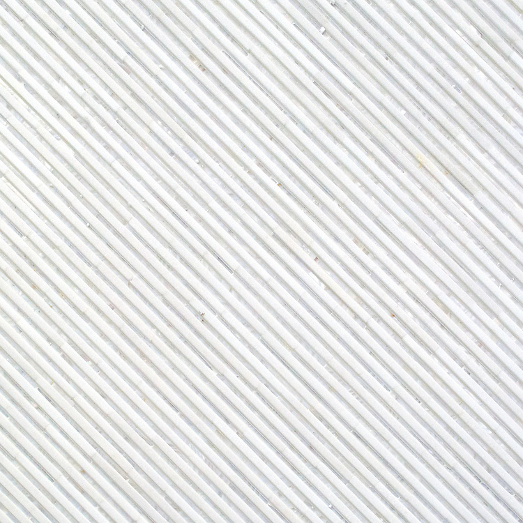 Corduroy, a hand-cut stone mosaic, shown in Venetian honed Thassos and Shell.