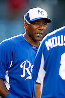 Miguel Tejada #24 of the Kansas City Royals before a game against the Los Angeles Angels at Angel Stadium on May 14, 2013 in Anaheim, California. (Larry Goren/Four Seam Images)