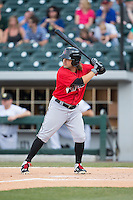 Jaff Decker (14) of the Indianapolis Indians at bat against the Charlotte Knights at BB&T BallPark on June 20, 2015 in Charlotte, North Carolina.  The Knights defeated the Indians 6-5 in 12 innings.  (Brian Westerholt/Four Seam Images)