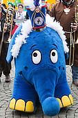 Düsseldorf, Germany. 27 February 2017. The blue Elephant from Sendung mit der Maus. Carnival parade on Shrove Monday (Rosenmontag) in Düsseldorf, North Rhine-Westphalia, Germany.