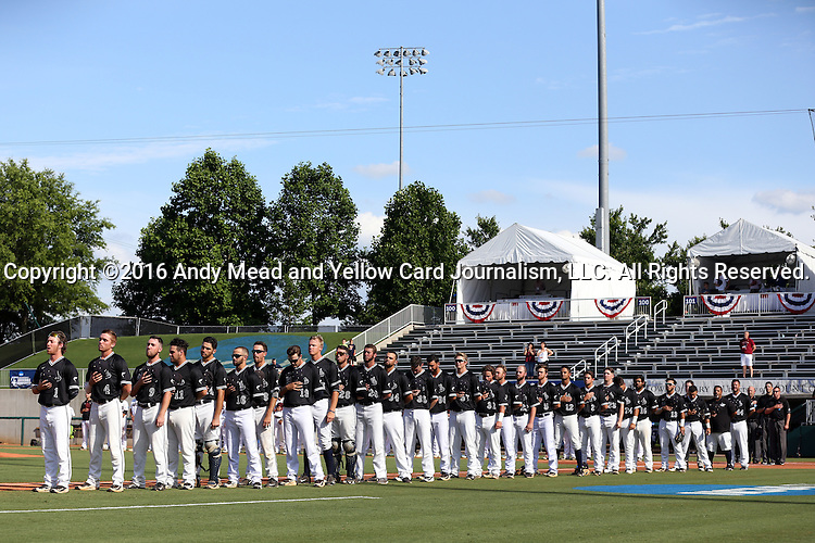 28 May 2016: Nova Southeastern's players line up for the national anthem before the game. The Nova Southeastern University Sharks played the Franklin Pierce University Ravens in Game 3 of the 2016 NCAA Division II College World Series  at Coleman Field at the USA Baseball National Training Complex in Cary, North Carolina. Nova Southeastern won the game 4-3 in twelve innings.