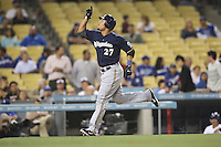 05/31/12 Los Angeles, CA: Milwaukee Brewers center fielder Carlos Gomez #27 during an MLB game between the Milwaukee Brewers and the Los Angeles Dodgers played at Dodger Stadium. The Brewers defeated the Dodgers 6-2.