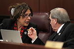 Nevada Assembly Republicans Victoria Seaman and John Ellison work in committee at the Legislative Building in Carson City, Nev., on Friday, March 13, 2015. <br /> Photo by Cathleen Allison
