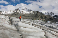 Hikers travel along the Gulkana Glacier in the Alaska Range mountains, Interior, Alaska.