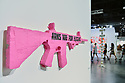 """MIAMI BEACH, FL - DECEMBER 06: An installation by Andrea Bowers """"I'm a teacher, not a sharpshooter:Ode to Coode Pink (Parkland)"""" during Art Basel Miami Beach on December 06, 2019 in Miami Beach, Florida. Art Basel represents over 250 art galleries onsite at the Miami Beach Convention Center. It is considered one of the world's largest art festivals and has art events throughout the city.  ( Photo by Johnny Louis / jlnphotography.com )"""