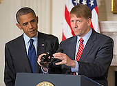 Richard Cordray, Director of the Consumer Financial Protection Bureau, makes remarks after United States President Barack Obama spoke on his confirmation in the State Dining Room of the White House in Washington, D.C. on the confirmation of  on Wednesday, July 17, 2013. <br /> Credit: Ron Sachs / Pool via CNP