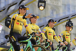 Team Jumbo-Visma on stage at the team presentation in Antwerp before the start of the 2019 Ronde Van Vlaanderen 270km from Antwerp to Oudenaarde, Belgium. 7th April 2019.<br /> Picture: Eoin Clarke | Cyclefile<br /> <br /> All photos usage must carry mandatory copyright credit (&copy; Cyclefile | Eoin Clarke)