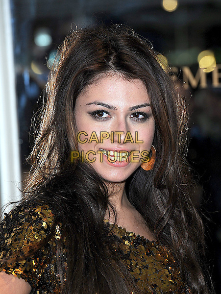 GABRIELLA CILMI.Attending The Noble Gift Gala, Dorchester Hotel, London..13th March 2010 .headshot portrait black gold sequined sequins paillettes .CAP/BEL.©Tom Belcher/Capital Pictures.