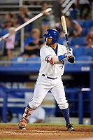Dunedin Blue Jays left fielder Eduard Pinto (4) at bat during a game against the Tampa Tarpons on June 2, 2018 at Dunedin Stadium in Dunedin, Florida.  Dunedin defeated Tampa 4-0.  (Mike Janes/Four Seam Images)