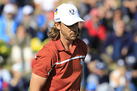 Tommy Fleetwood (Team Europe) on the 9th green during Saturday's Foursomes Matches at the 2018 Ryder Cup 2018, Le Golf National, Ile-de-France, France. 29/09/2018.<br /> Picture Eoin Clarke / Golffile.ie<br /> <br /> All photo usage must carry mandatory copyright credit (&copy; Golffile | Eoin Clarke)