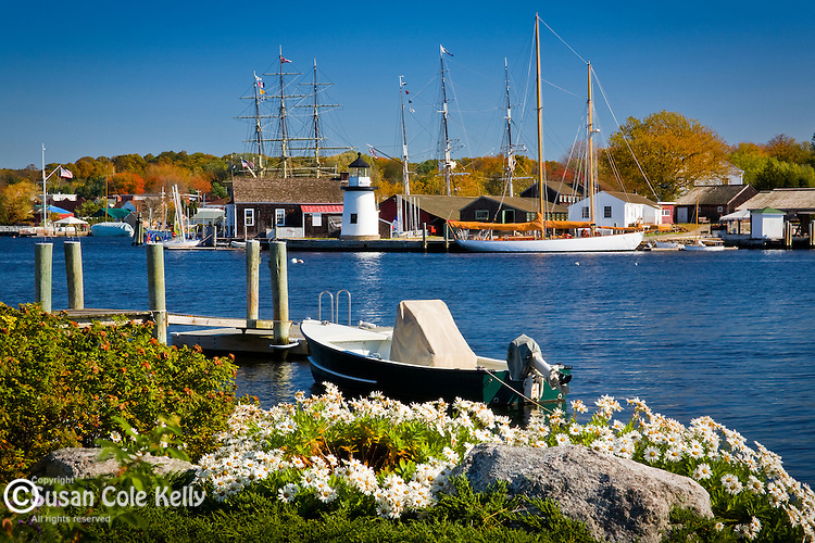 Fall Foliage colors the Mystic River at Mystic Seaport, Mystic, CT, USA
