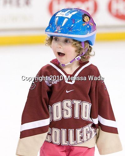 Cortney Lenz, the daughter of Bert Lenz, the Director of Sports Medicine for BC Olympic Sports. - The Boston College Eagles women's team hosted a fan skate following their victory over Harvard on Sunday, December 5, 2010, at Conte Forum in Chestnut Hill, Massachusetts.