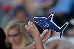 4 JUNE 2016:  A Nova Southeastern University fan snaps a photo of their mascot during the Division II Men's Baseball Championship between Millersville University and Nova Southeastern University at the USA Baseball National Training Complex in Cary, NC.  Nova Southeastern University defeated Millersville University 8-6 to win the national title. Grant Halverson/NCAA Photos