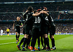Adrien Rabiot of Paris Saint Germain celebrates with teammates during the UEFA Champions League 2017-18 Round of 16 (1st leg) match between Real Madrid vs Paris Saint Germain at Estadio Santiago Bernabeu on February 14 2018 in Madrid, Spain. Photo by Diego Souto / Power Sport Images