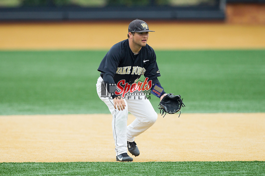 Wake Forest Demon Deacons second baseman Nate Mondou (10) on defense against the Florida State Seminoles at Wake Forest Baseball Park on April 19, 2014 in Winston-Salem, North Carolina.  The Seminoles defeated the Demon Deacons 4-3 in 13 innings.  (Brian Westerholt/Sports On Film)