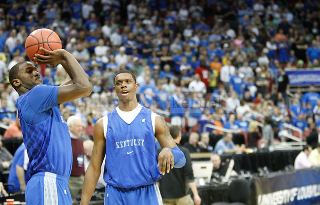UK freshman Michael Kidd-Gilchrist and UK sophomore forward Terrence Jones shoot around during UK's practice at the KFC Yum! Center March 14, 2012. Photo by Brandon Goodwin | Staff