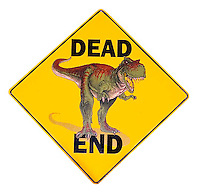 Dead End dinosaur sign at Petrified Creatures in Richfield New York