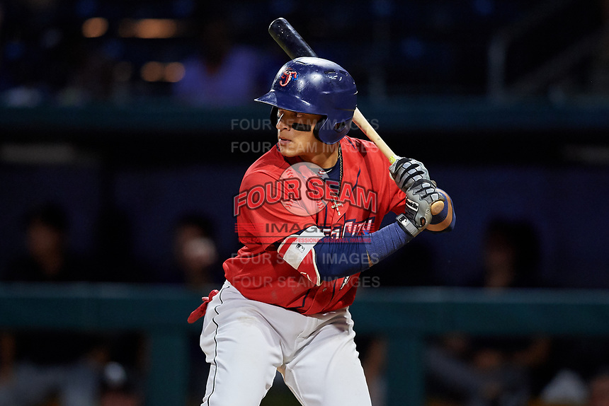 Jacksonville Jumbo Shrimp second baseman Isan Diaz (11) at bat during a game against the Biloxi Shuckers on June 8, 2018 at Baseball Grounds of Jacksonville in Jacksonville, Florida.  Biloxi defeated Jacksonville 5-3.  (Mike Janes/Four Seam Images)