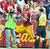Washington Redskins running back Alfred Morris (46) runs for a touchdown in second quarter action against the Detroit Lions at FedEx Field in Landover, Maryland on Sunday, September 22, 2013.<br /> Credit: Ron Sachs / CNP