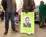 February 11, 2017. Raleigh, North Carolina.<br /> <br /> HKONJ supporters had many creative signs, including this one featuring Supreme Court Justice Ruth Bader Ginsburg.<br /> <br /> Thousands gathered in downtown Raleigh for the annual HKONJ People's Assembly, a civil rights march tied to the Moral Monday movement. Supporters from around the state gathered to march and speak out against nationwide attacks on civil rights and the Trump administration.<br /> <br /> Jeremy M. Lange for The New York Times