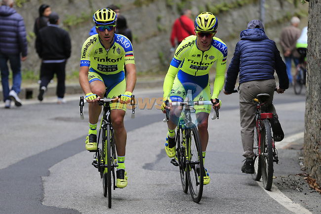 Jesper Hansen (DEN) and Bruno Pires (POR) Tinkoff-Saxo tackle the final climb of Superga near the finish of the 2015 96th Milan-Turin 186km race starting at San Giuliano Milanese, Italy. 1st October 2015.<br /> Picture: Eoin Clarke | Newsfile