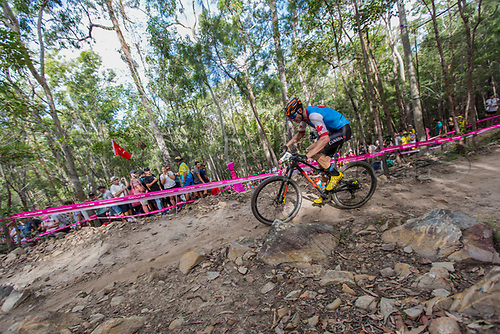 12th April 2018, Nerang Mountain Bike Trails, Gold Coast, Australia; Commonwealth Games day 8; Leandre Bouchard (CAN) during the Men's Cross-country Mountain Bike Race