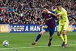 Sergi Roberto Carnicer of FC Barcelona (L) fights for the ball with Faycal Fajr of Getafe CF (R) during the La Liga 2017-18 match between FC Barcelona and Getafe FC at Camp Nou on 11 February 2018 in Barcelona, Spain. Photo by Vicens Gimenez / Power Sport Images