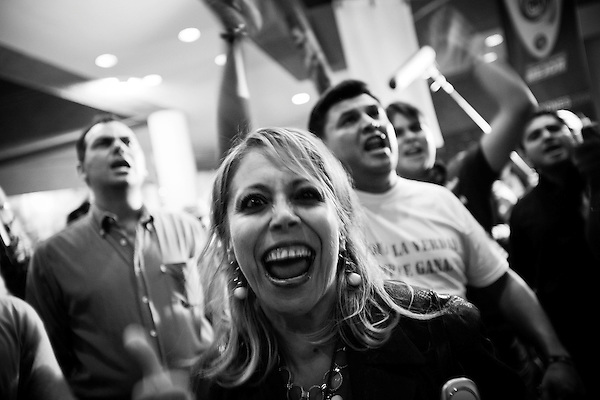 As the official recounting of the ballot sheets was held across town, Calderon supporters rallied at the PAN headquarters to show support for their candidate, now to be the next president of Mexico.. Even with an early lead in the recount, Obrador's dispute with the vote tallies was turned over and at the end of the count, Calderon was declared the unofficial winner pending the official sanctioning of the recount.