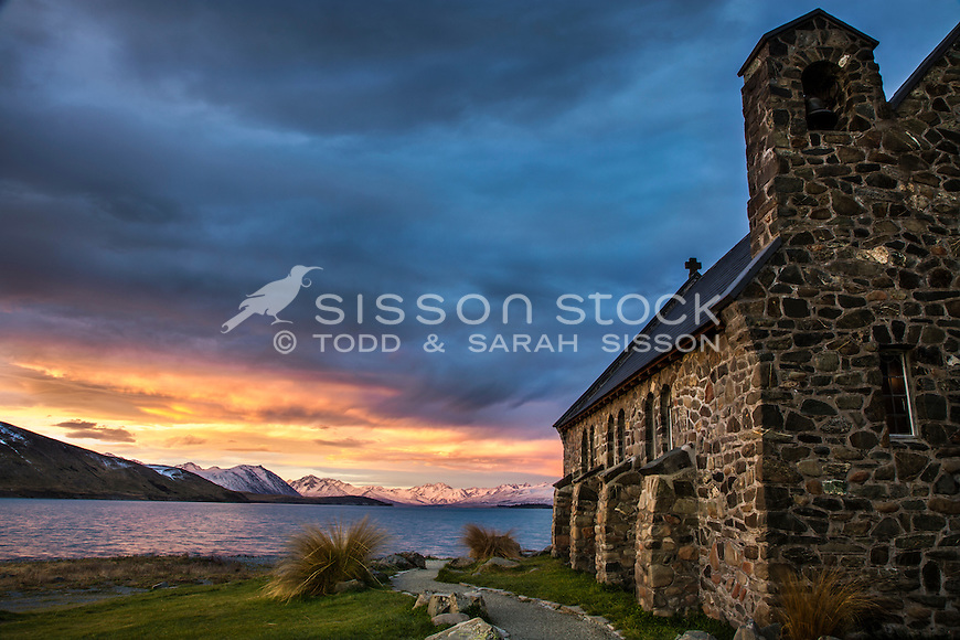 Spectacular sunset at the Church of The Good Shepherd, Lake Tekapo, South Canterbury New Zealand.