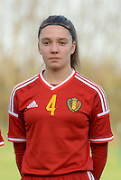 20151128 - Tubize , Belgium : Belgian Romy Camps pictured during the female soccer match between Women under 16 teams of  Belgium and Germany , in Tubize . Saturday 28th November 2015 . PHOTO DIRK VUYLSTEKE