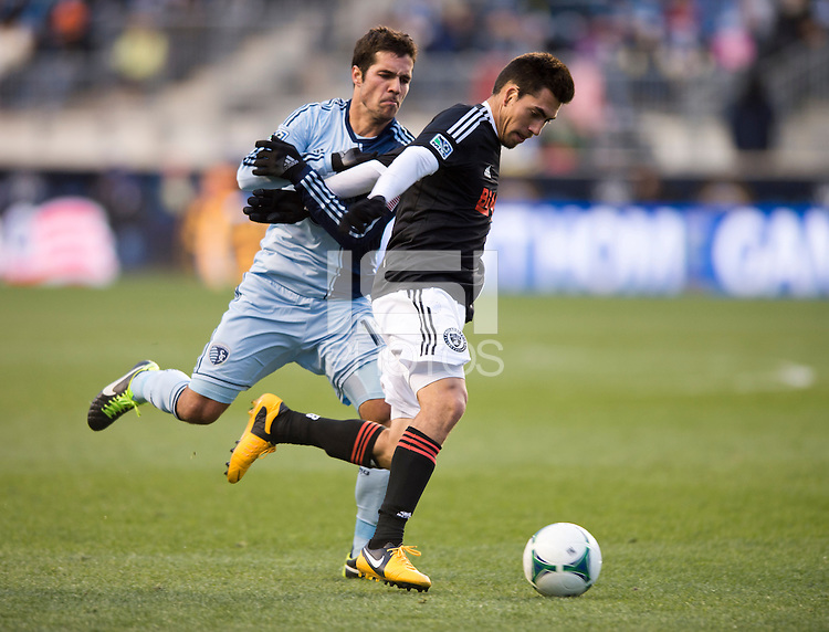 Michael Farfan, Benny Feilhaber.  Sporting Kansas City defeated Philadelphia Union, 3-1. at PPL Park in Chester, PA.