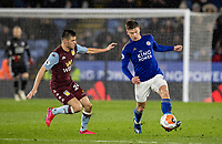 Leicester City's Harvey Barnes (right) competing with Aston Villa's Frederic Guilbert <br /> <br /> Photographer Andrew Kearns/CameraSport<br /> <br /> The Premier League - Leicester City v Aston Villa - Monday 9th March 2020 - King Power Stadium - Leicester<br /> <br /> World Copyright © 2020 CameraSport. All rights reserved. 43 Linden Ave. Countesthorpe. Leicester. England. LE8 5PG - Tel: +44 (0) 116 277 4147 - admin@camerasport.com - www.camerasport.com